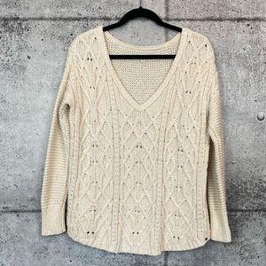 American Eagle // Cream Cable Knit V-Neck Sweater
